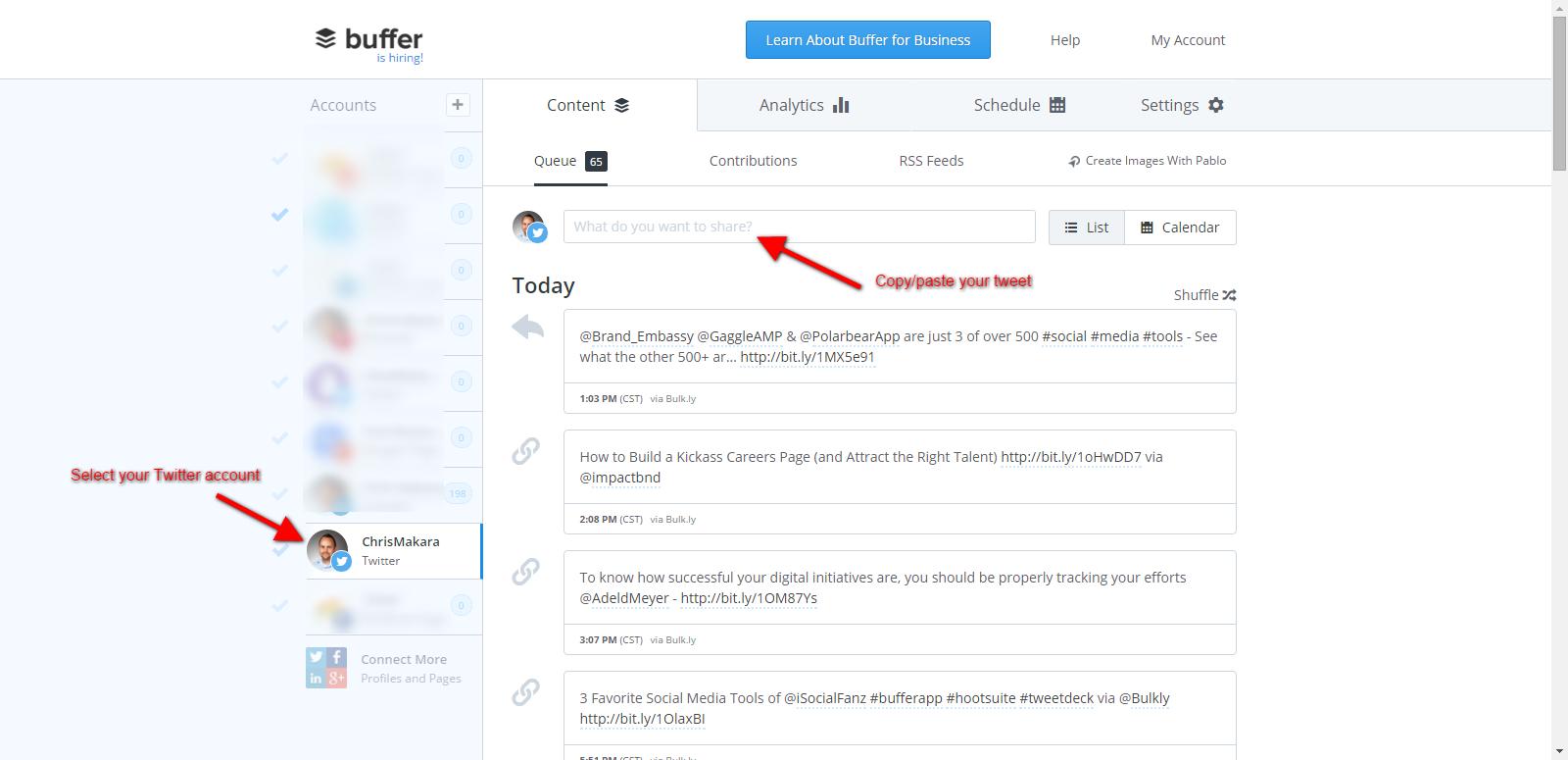 buffer schedule tweets to test
