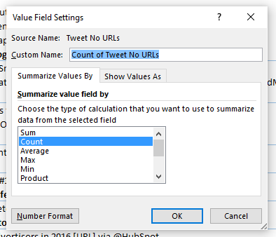 change excel pivot table value setting