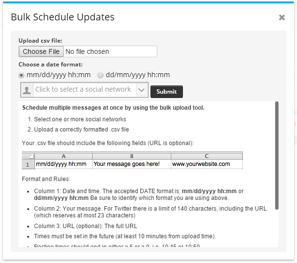 hootsuite bulk upload csv