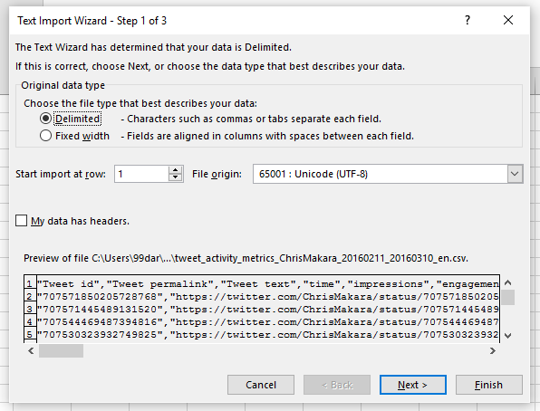 twitter csv import to excel step 1