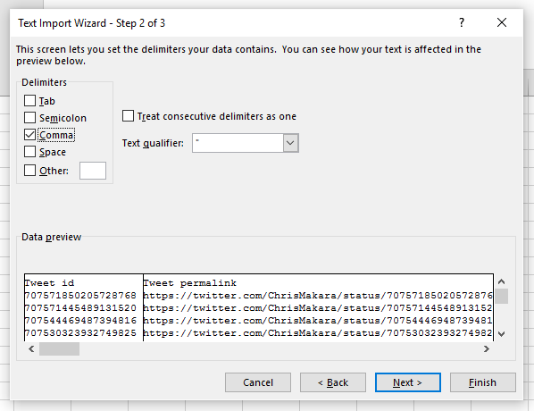 twitter csv import to excel step 2