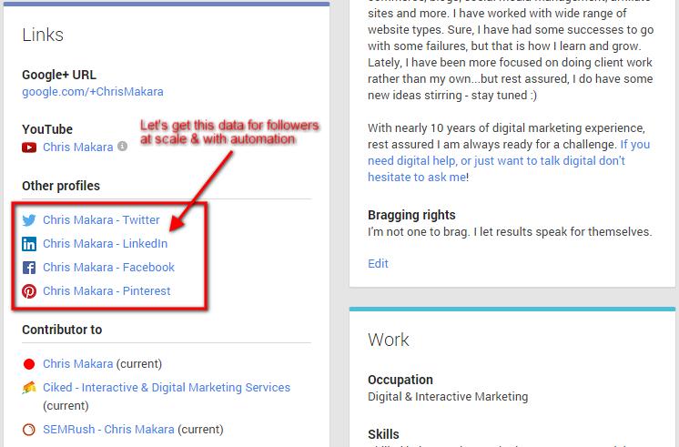 Google Plus About Social Links