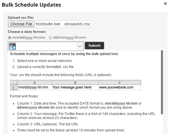 Bulk Schedule UTM Trackable Social Media Updates Hootsuite